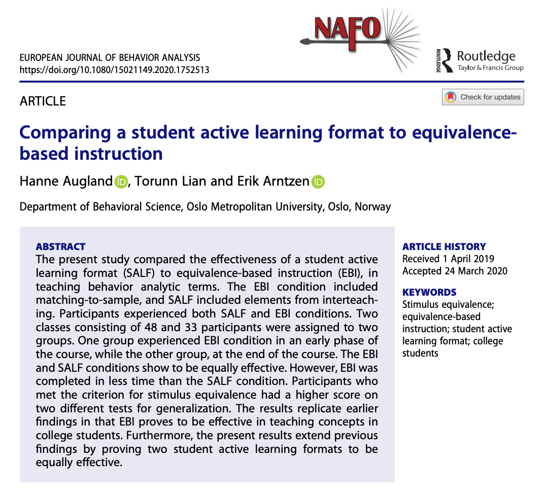 Published Paper on Student Active Learning and Equivalence-Based Instruction