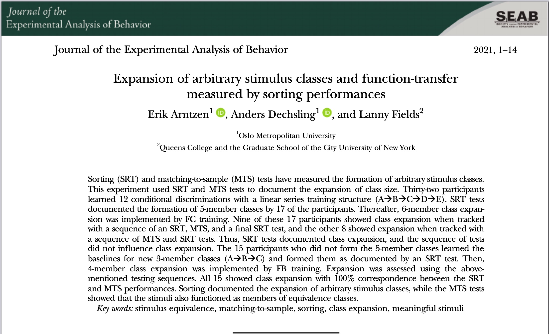 Another paper published online in JEAB (special issue on the topic of Murray Sidman: A Retrospective Appreciation of a Distinguished Scientist)