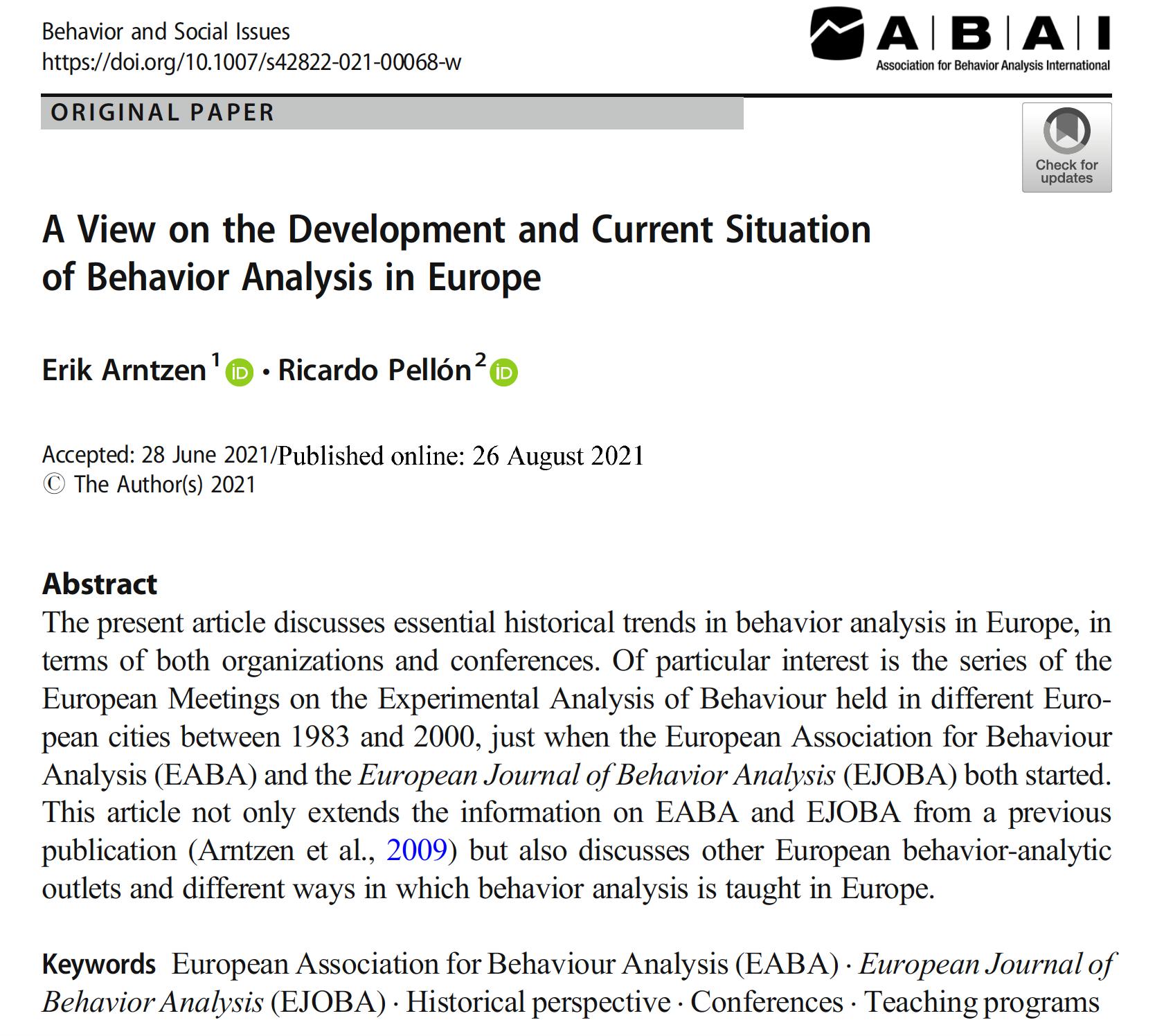 Paper on behavior analysis in Europe